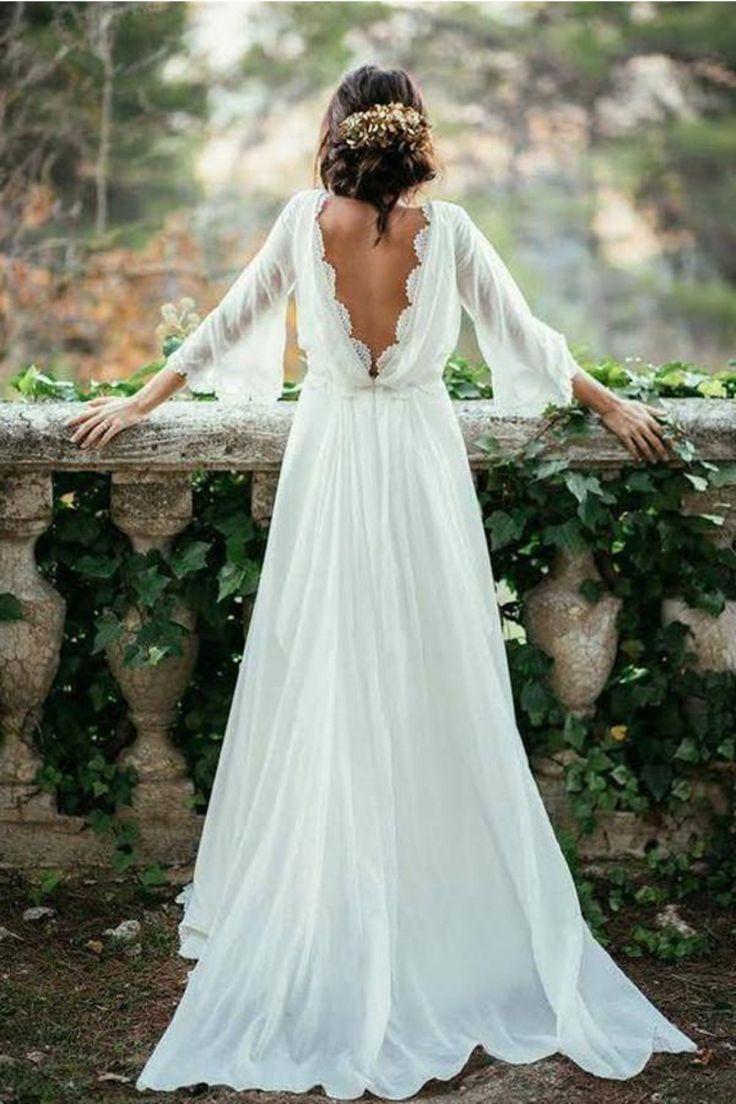 Vestidos de novia de tul de encaje de color marfil largos fuera del hombro Vestidos de novia de playa US$ 199.00 VEPXLLHZGA 1