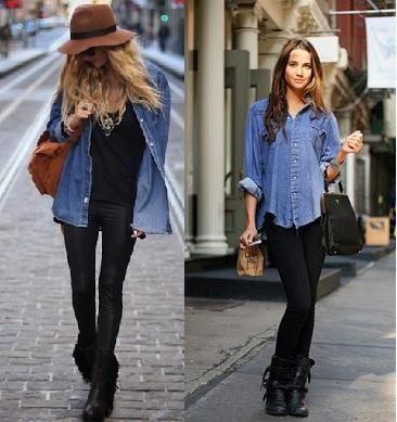 Camisa vaquera + leggins negros