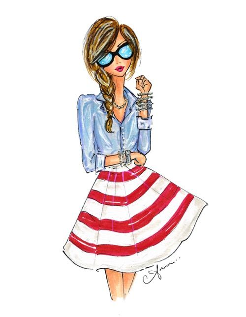 Image via We Heart It #accessories #art #autumn #beauty #blue #brunette #clothes #denim #dress #fashion #hairstyle #illustration #paint #red #sunglasses #anum