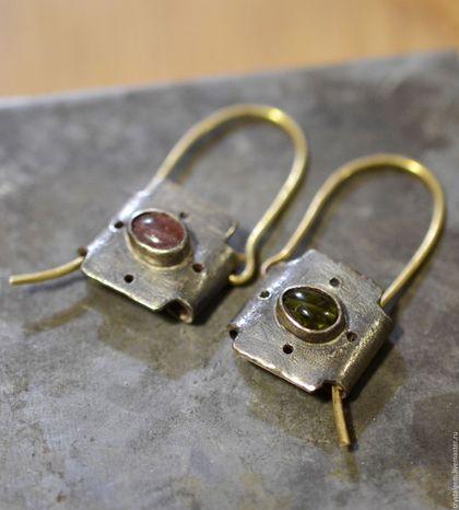 """Серьги ручной работы. Ярмарка Мастеров - ручная работа. Купить """"Tagliare"""", турмалин, серебро, золото. Handmade. Розовый, розовый турмалин"""