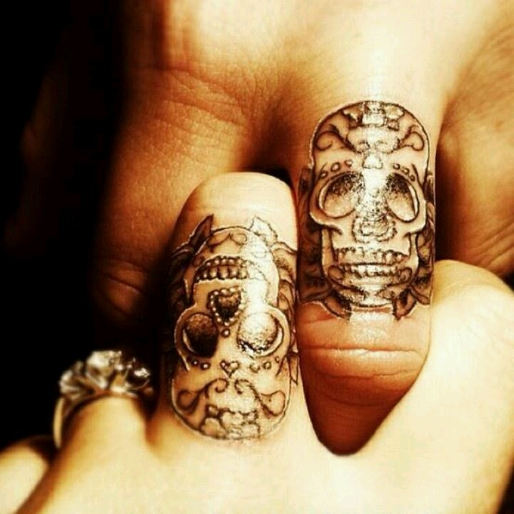 Matching day of the dead skull tattoos tattoo for Day of the dead skull tattoo