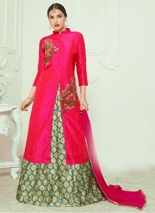 New Arrival Pink Banglori Silk Indo Western