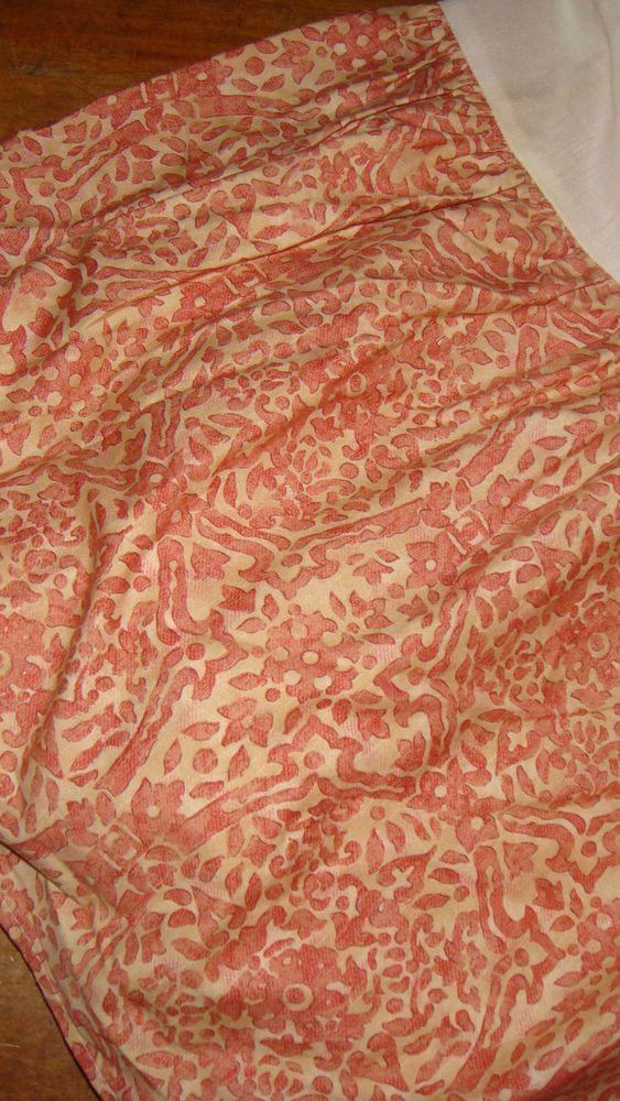 """Ralph Lauren San Luca Scroll Queen Ruffled Bedskirt Red-Orange Tan EUC 15"""" Drop #RalphLauren #Transitional"""