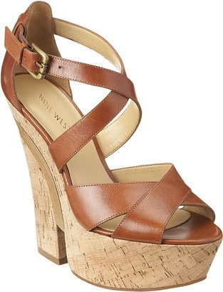 Nine West Split wedge: Style Platforms, Brown Sandals, Cute Wedges, Nine West, Cross Sandal, Shoes Spring, 70S Style, Platform Sandals, Kinda Shoes