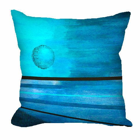 Throw Pillow - Abstract Moon in aqua, turquoise and black