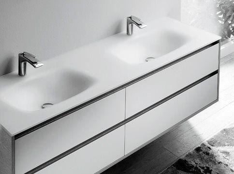 Glass integrated washbasin, glossy or satin finish.<br/>
