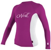 O'Neill Wetsuits Women's Skins Long Sleeve Crew, Fest/White, Small
