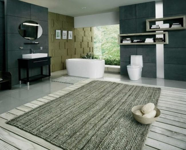Grey Large Bathroom Rug