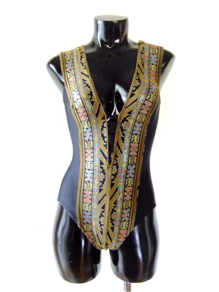 80s aztec swimsuit metallic bathing suit black by vintage2049, $38.00