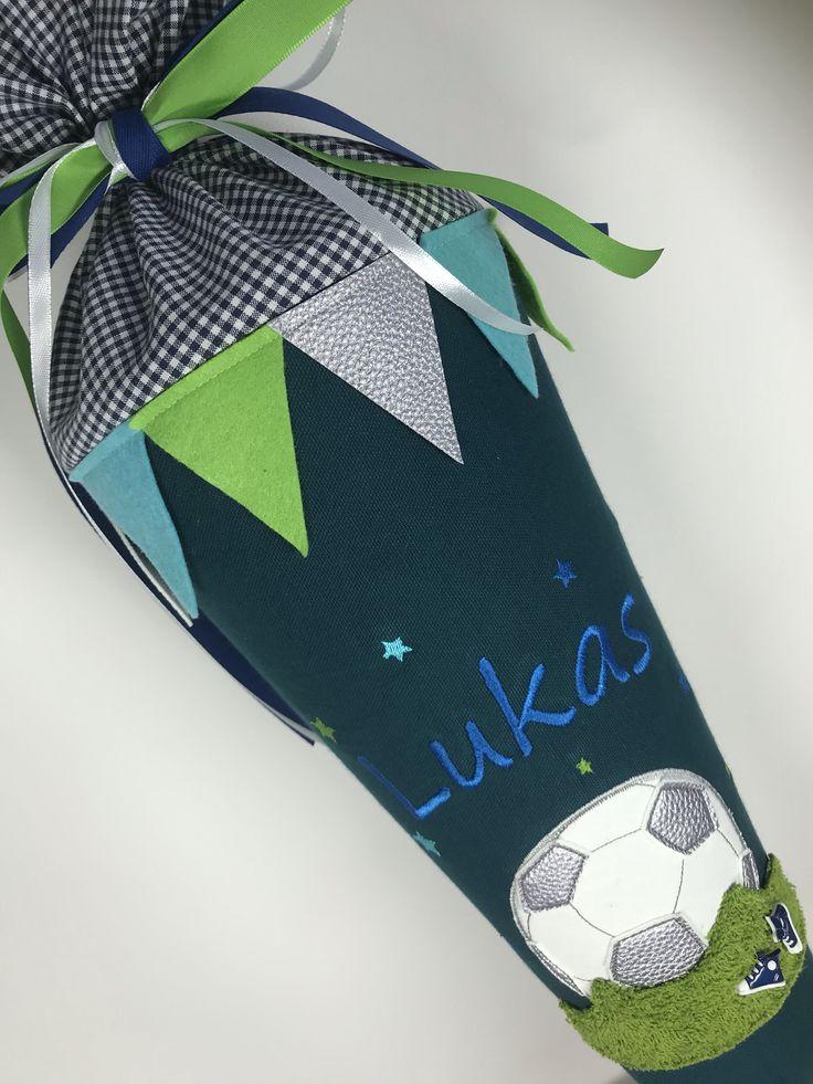 Schultuete aus Stoff mit Fussball– luettenmaat.de
