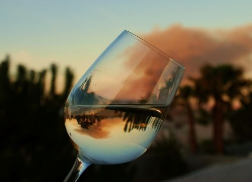 Reflection through a wine glass