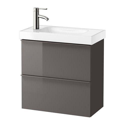 IKEA - GODMORGON / HAGAVIKEN, Waschbeckenschrank/2 Schubl., Hochglanz grau, , Inklusive 10 Jahre Garantie. Mehr darüber in der Garantiebroschüre.Nur 32 cm tief - daher auch praktisch bei wenig Platz. In den geräumigen Schubladen lässt sich vieles unterbringen - von größeren Dingen bis zu unentbehrlichen Kleinteilen.Soll die Mischbatterie rechts oder links sein? Beides geht - einfach das Waschbecken in der entsprechenden Richtung einsetzen.Leicht laufende, sanft schließende Schublade...