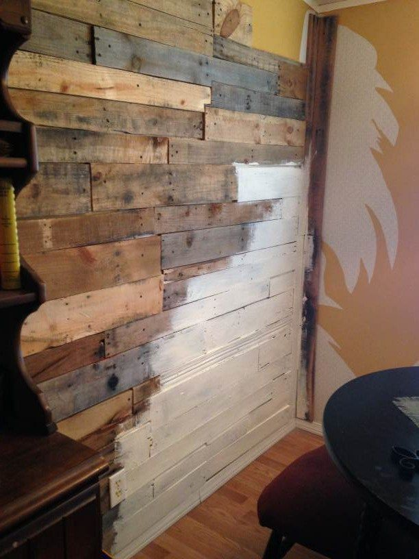manufactured home makeover adding natural wood to wall