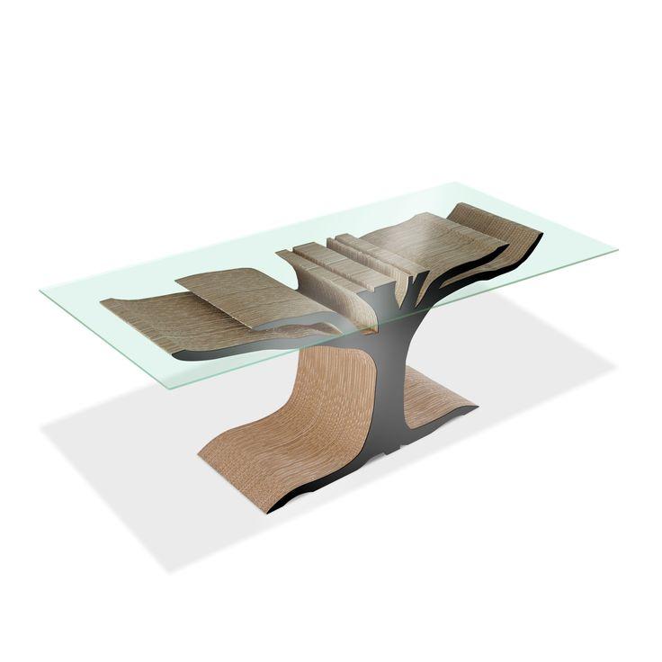 FLOYD - Carton Factory Designer: Skemp Design Misure: 123 X 44 X 75h  Tavolo in cartone ispirato alle forme di un albero.   Materiali: cartone riciclato, profili Mdf, vetro temperato.  #cartonfactory #ecodesign #cardboard #design #table #cartone