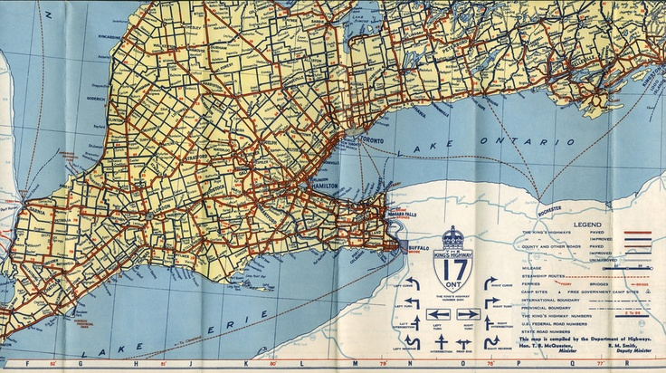 Ontario Official Map 1940. Southern Ontario Windsor to Belleville.