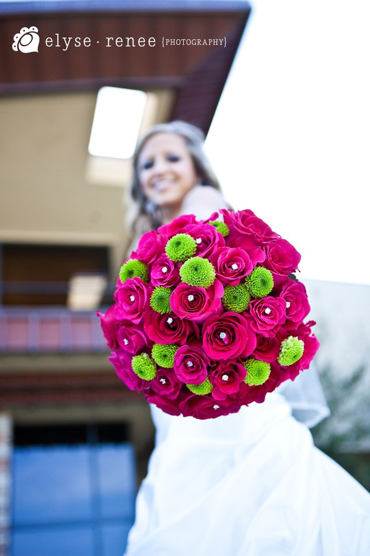 Just holding her bouquet.. A lot of Rhinestones add a very simple touch of sophistication.