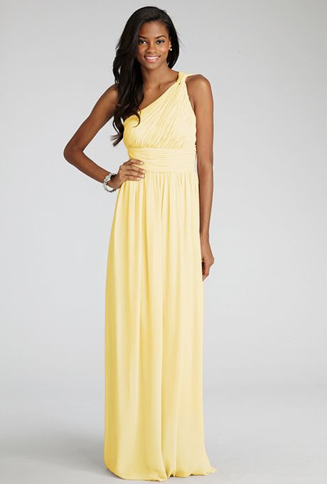 Donna Morgan - Rachel - Lemon - Bridesmaid Dress ~ Subtle ruching highlights this flowy one shoulder chiffon dress with a flattering set in waist and floor length skirt.