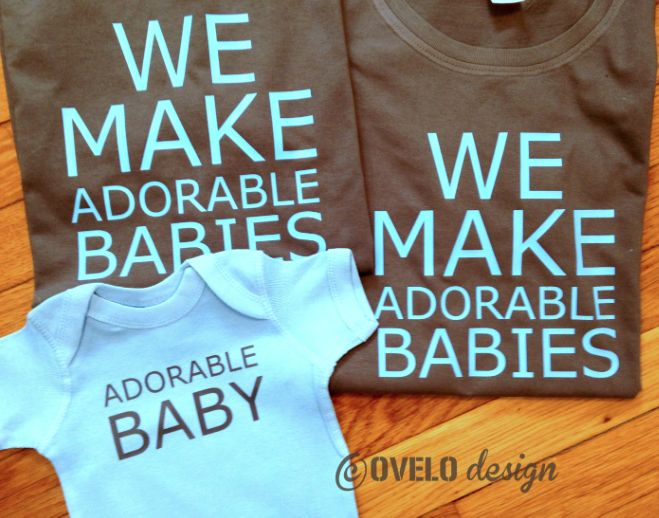 """First Mother's Day Gifts:  """"We Make Adorable Babies"""" Baby Onesie Bodysuit and T-Shirts for the New Mom and Dad (set of 3) by Ovelo @ Etsy"""