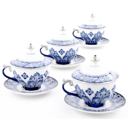 Blue & White Grace Covered Cups - Bombay & Co #repintowinyorkdale