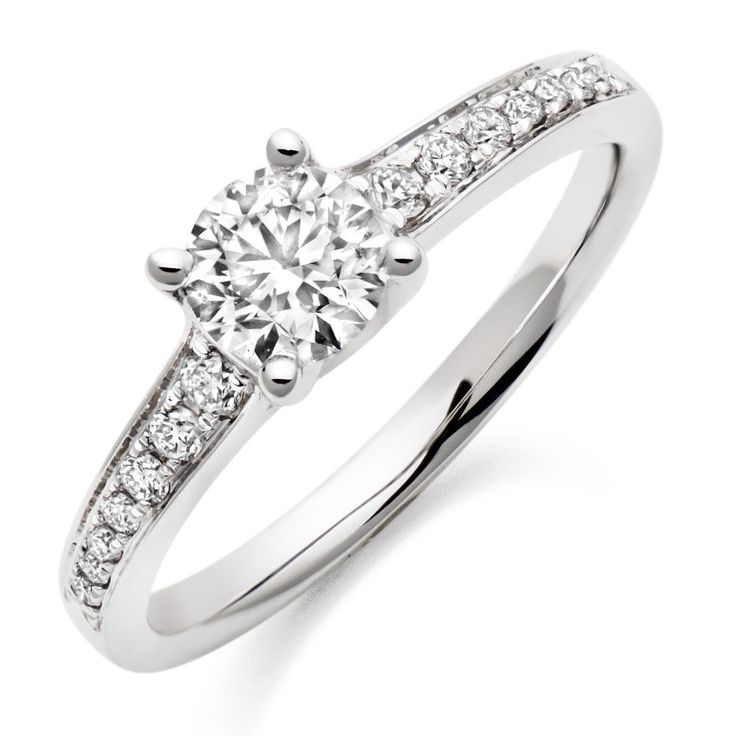 18ct White Gold Brilliant Cut Diamond engagement ring 0.50ct D VS2 GIA Certified