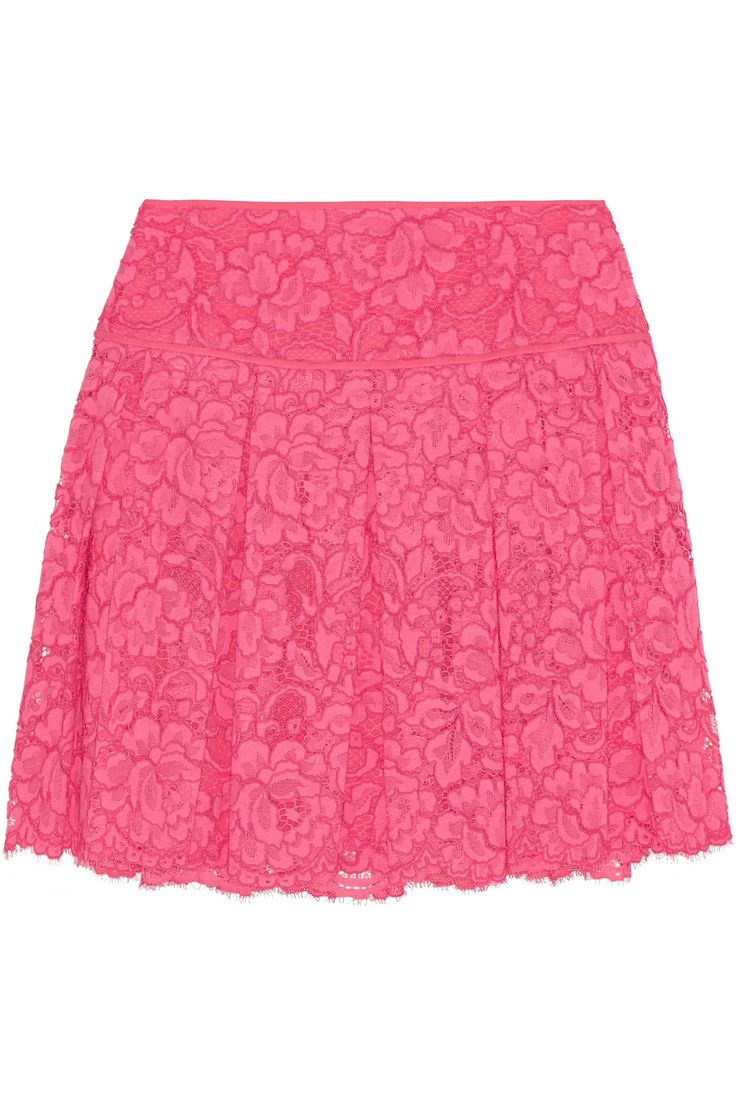 £92.25 - DKNY Pleated guipure lace mini skirt