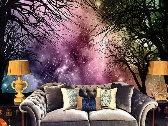 X Galaxy Forest Wallpaper Wall Decal Art Bedroom Starry Night Tree  Silhouette Purple Dream Night Woods Wall Mural Colorful Nature