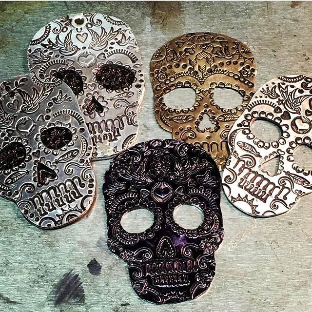 We love how @New.Stamped.Metal.Jewelry used our Skull metal stamping blanks: https://www.beaducation.com/search?qry=skulls
