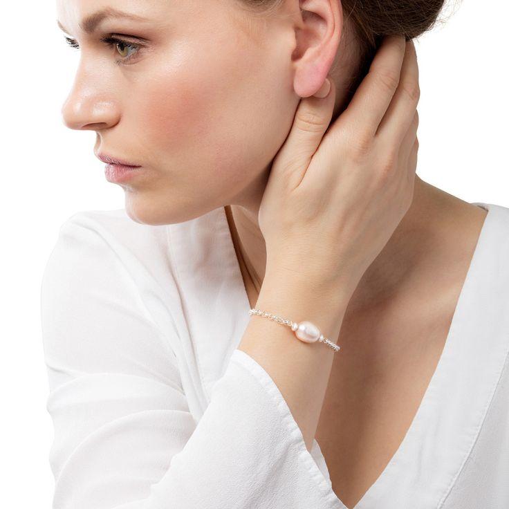 Claudia Bradby Hera Pink Pearl And Silver Bracelet