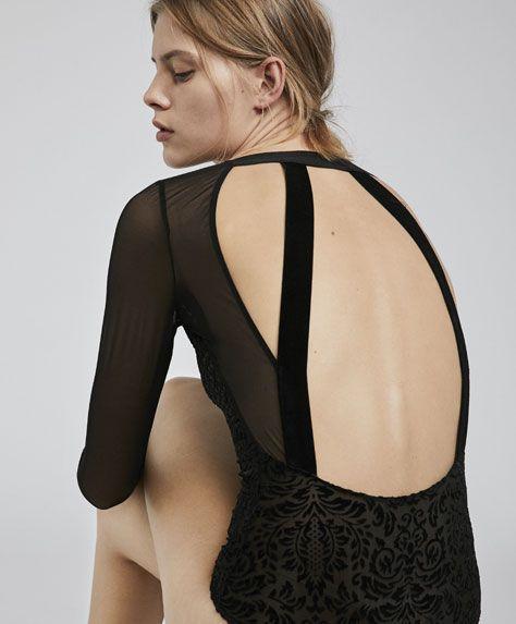 Stripe pattern devoré bodysuit - 7
