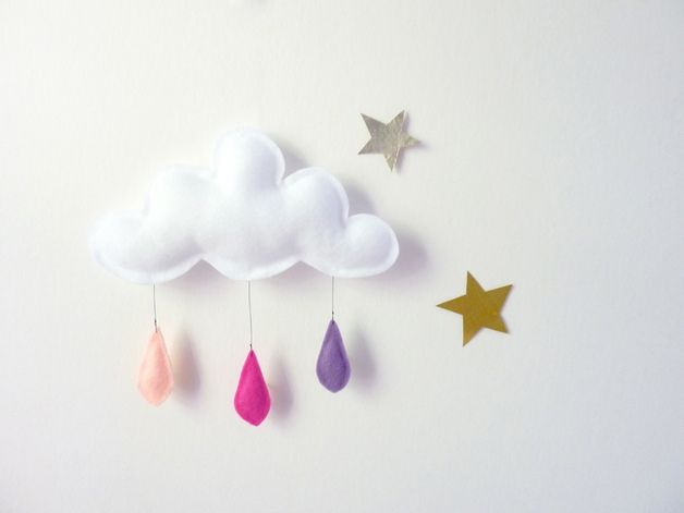 Gorgeous puffy fluffy felt cloud mobile with three light pink-fushia- light purple felt raindrops. It hangs from a fine fishing line cord...so lovely! 100% Felt Approximately 20 x 20 cm The...