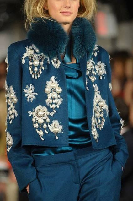 Love this jacket with pearl decoration and faux fur collar