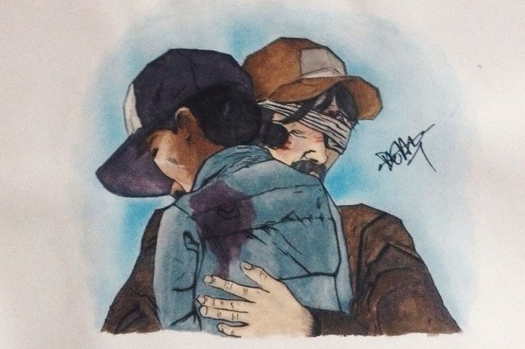 A scene from The Walking Dead Season 2 Video Game of Kenny and Clementine . Done with markers and watercolour paint .