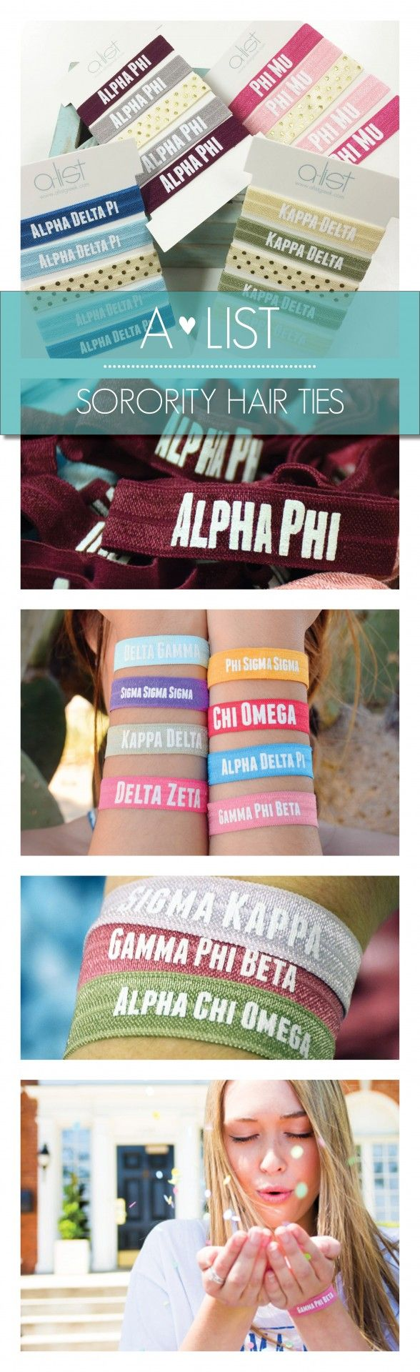 Get your hair tie on with these cute Sorority Hair Ties. Available in an assortment of tassel colors from www.alistgreek.com. Makes a great initiation, bid day or big/little gift! #sorority