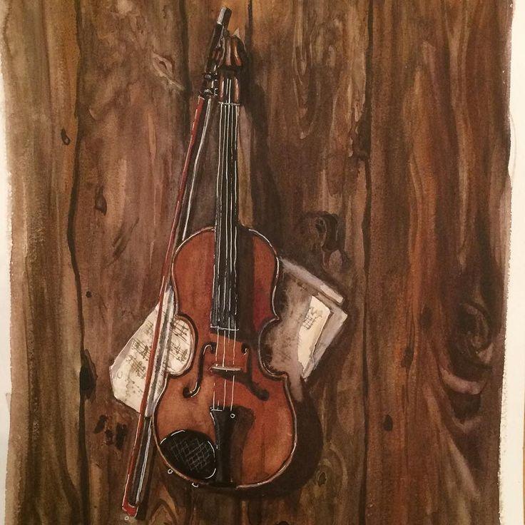 Violin watercolor for holiday art madness at #kalachevaschool # . . . . #акварельныйшерлок #violin #showyourwork #watecolour #happycolors #artsharing #creativelycoloring #realisticdrawing #woodtexture #drawingmusic