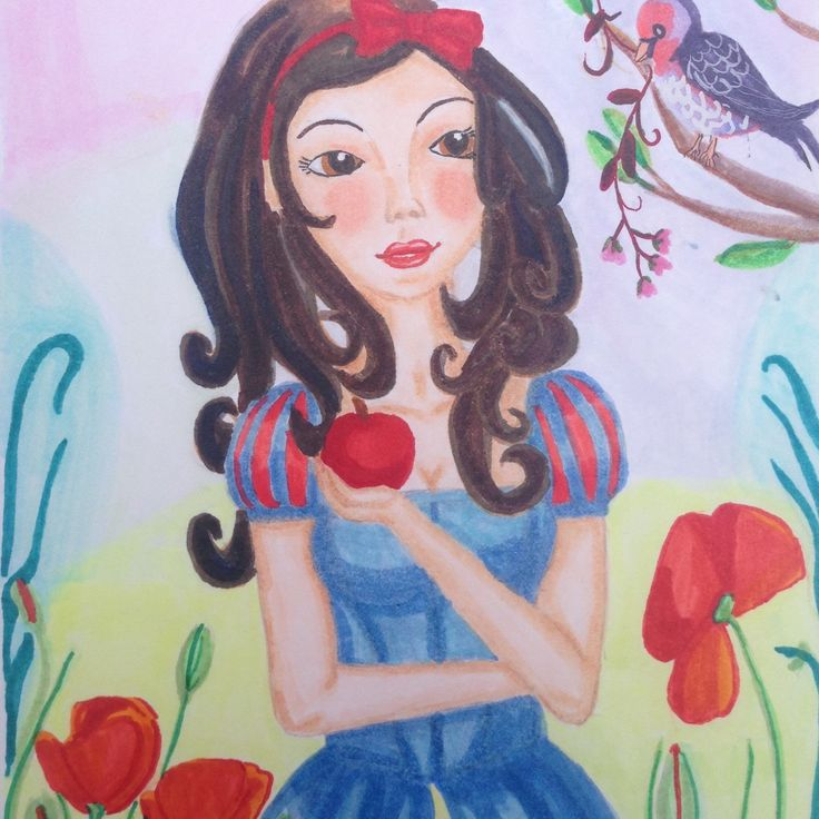 Snowwhite princess wall art print. Cute girls wall decor.  This Lovely poster of show white Will fit perfectly in every room in your house. For more Lovely fairy tale art and woodland animal prints, visit lumisadesign