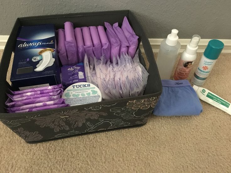 Postnatal care kit for mom: three different size maxi pads, Tucks, nursing pads, perineal squirt bottle, new mama bottom spray, Americaine spray (from hospital), Dibucaine Gel from Doctor, and cheap Hanes underwear (I used the mesh undies for the first few days home and then switched to cotton). Take collace for three days to help soften stool. Learn more tips on my blog: motherhoodtakesavillage.blogspot.com