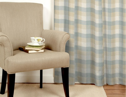 Mitford Check Duck Egg Curtains Made To Order | Laura Ashley