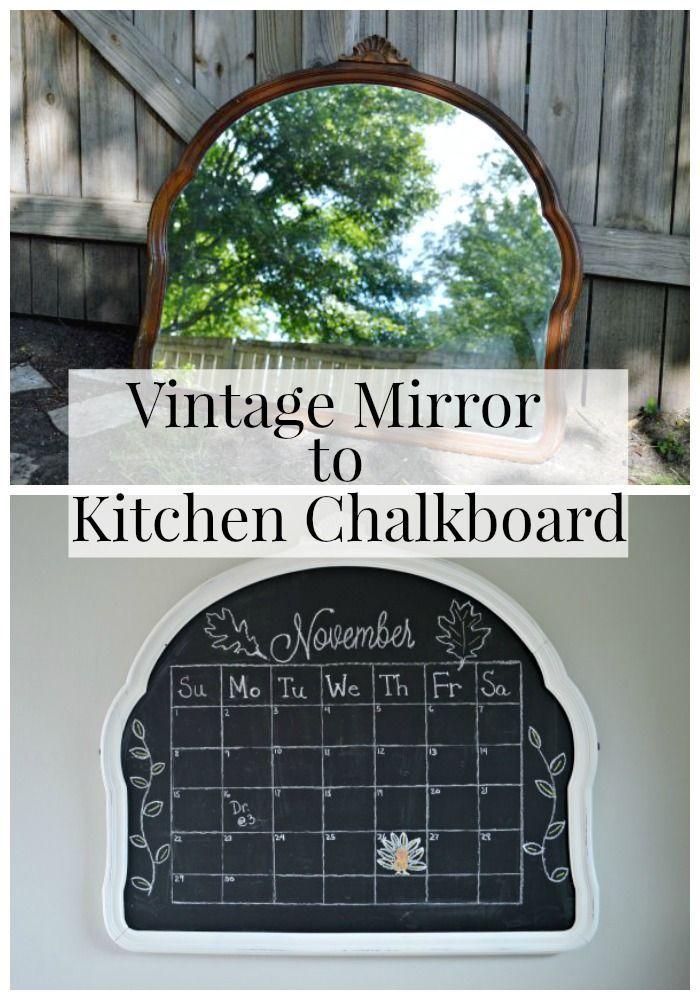 Turning a vintage mirror into a kitchen chalkboard | chatfieldcourt.com