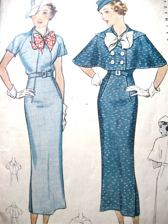 Vintage 1930s sewing pattern by McCall 8242 to make dress and cape.   Bust  32 inches