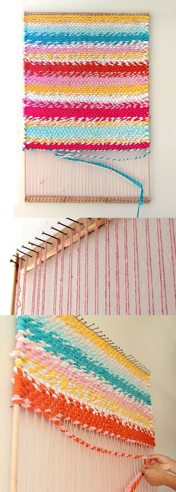 How to make dining table mats at home - Weave A T Shirt Rug With Easy Diy Loom