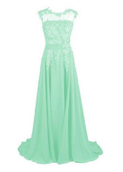 A Line Cheap Mint Long Party Dress Lace Appliques Beaded Upper Body Dress Bridesmaid Gowns vestido de festa Free Shipping 2016