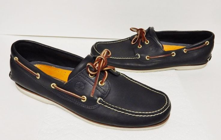 Timberland Classic 2 Eye Leather Boat Shoes Deck  #74036 Black Men's 13 M #Timberland #BoatShoes