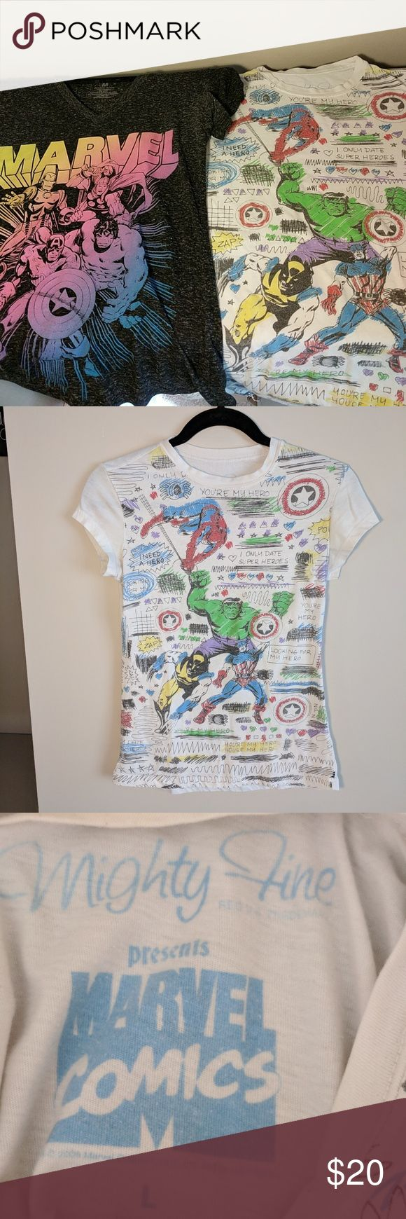 Marvel Super Hero T-shirt Duo Two amazing marvel superhero shirts. White shirt is a size L but fits like a women's small. Gray shirt is a women's medium. Marvel Tops Tees - Short Sleeve
