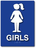 Official ADA Signs and Products from ADA Sign Depot 6x8 Girls Lavatory/Restroom Braille ADA Signs