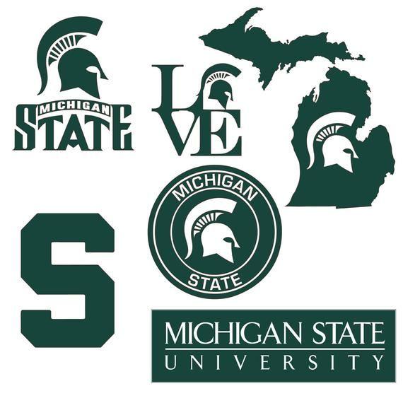 Six 6 Michigan State University Logos In Official Colors Michigan State Spartans Logo Michigan State Logo Michigan State Shirt