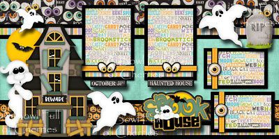 SPOOK-HOUSE-halloween-haunted-2-premade-scrapbook-pages-printed-paper-CHERRY