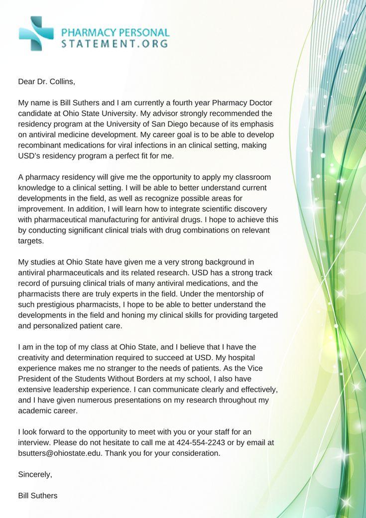 Pharmacy Residency Letter of Intent Example http//www