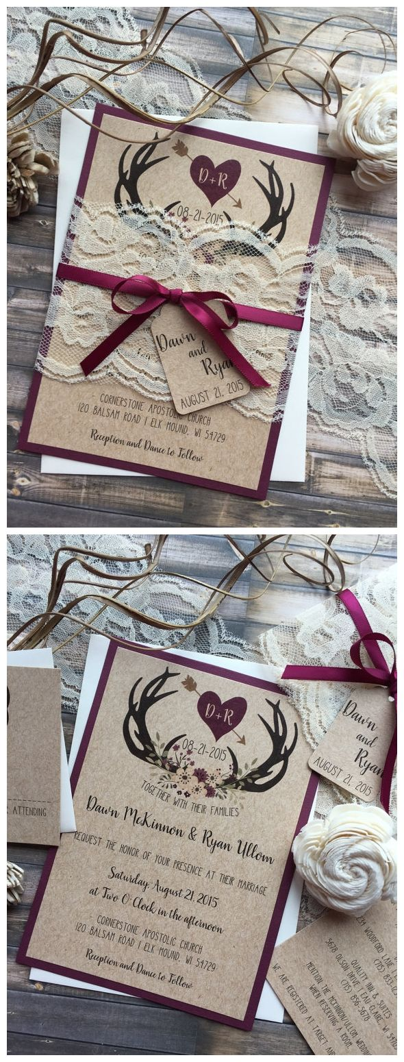 Invitations  Rustic Wedding Invitation, Antler Wedding Invitation, Lace Wedding Invitations, ...
