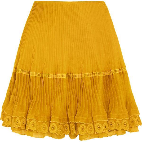 Chloé Layered plissé silk-organza mini skirt ($3,065) ❤ liked on Polyvore featuring skirts, mini skirts, eyelet skirts, short skirts, mustard yellow skirt, yellow skirt and layered skirt