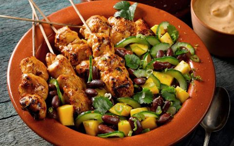 Spicy Chicken Kebabs with Mango, Cucumber and Kidney Bean Salad and Chilli…